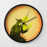 kermit Wall Clocks featuring kool kermit by Kingu Omega