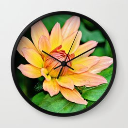 Blooming in Peach and Yellow Wall Clock