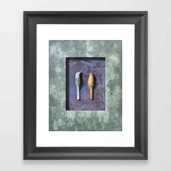 birds on green Framed Art Print