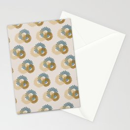 Flower Power surface pattern (blue-yellow) Stationery Cards