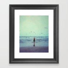Woman on the Beach Framed Art Print