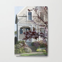 Victorian through the Plum Tree Blossoms Metal Print