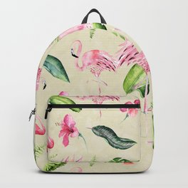 Tropical pink green ivory watercolor flamingo floral Backpack