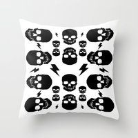 skulls Throw Pillows featuring skullS by HEADBANGPARTY
