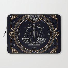 Libra Zodiac Golden White on Black Background Laptop Sleeve