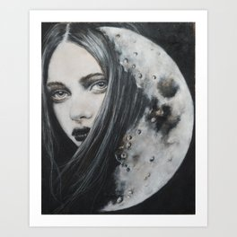 Weeping Heart and the Moon Art Print