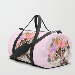 Baby Squirrel with Flowers Crown in Pink Duffle Bag