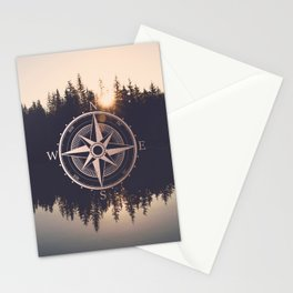 Rose Gold Compass Forest Stationery Cards