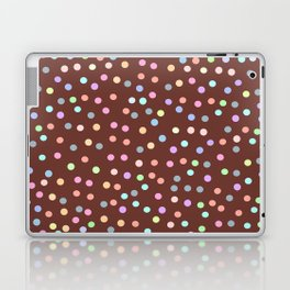 chocolate Glaze with sprinkles. Brown abstract background Laptop & iPad Skin