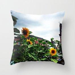 Sunflowers on Main Street - Beacon NY Throw Pillow