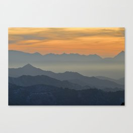 Sunset at the mountains Canvas Print
