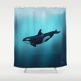 """Lost in Serenity"" by Amber Marine ~ Orca / Killer Whale Art, (Copyright 2015) Shower Curtain"