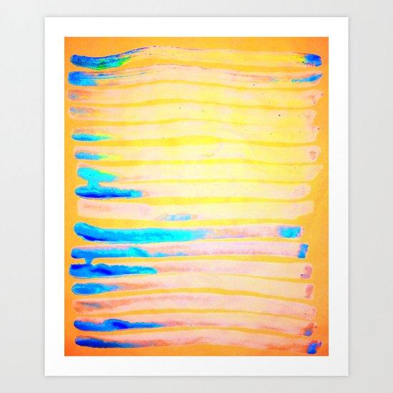Orange Pantone Ocean Blue Lines Art Print