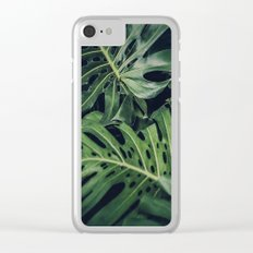 Tropical Monstera Leaves Clear iPhone Case