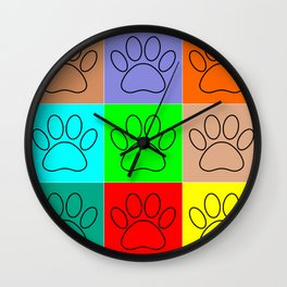 Puppy Paws In Squares Wall Clock