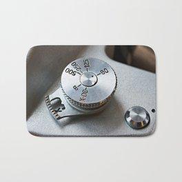 Control dial shutter speed on retro SLR camera Bath Mat