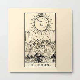 XVIII. The Moon Tarot Card on Parchment Metal Print