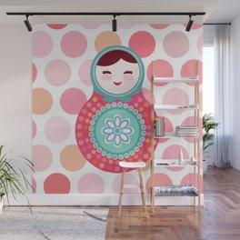 doll matryoshka, pink and blue, pink polka dot background Wall Mural