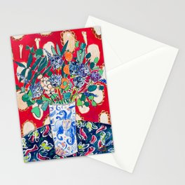 Wildflowers in a Lion Vase on Red Floral Still Life Painting After Matisse Stationery Cards