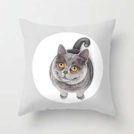 Smiling Rounded Cat Throw Pillow