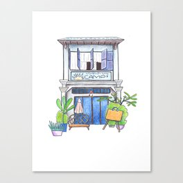 Cambodia travel sketch - house in Kampot town Canvas Print