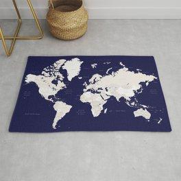 "Navy blue and cream world map, ""Austin"" Rug"