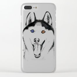 Smiling Husky Clear iPhone Case