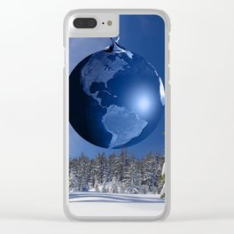 Beautful blue christmas ornaments Clear iPhone Case