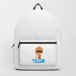Cute Chibi Surfer Dude in Red Backpack