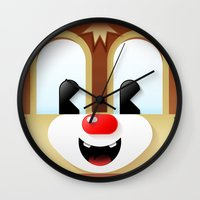 dale cooper Wall Clocks featuring Dale cutie by designoMatt