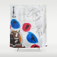 hockey Shower Curtains featuring Hockey Prayer by Ethna Gillespie
