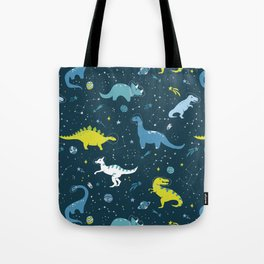 Space Dinosaurs in Bright Green and Blue Tote Bag