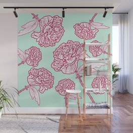 Barbed Wire Peony Floral in Coral Pink & Aqua Wall Mural