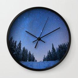Blue Night Stars Wintry Forest Wall Clock