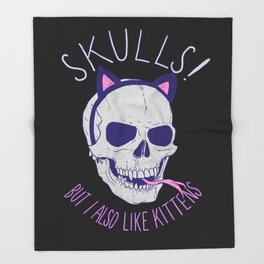 Skulls and Kittens Throw Blanket