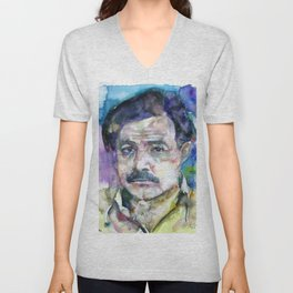 ERNEST HEMINGWAY - watercolor portrait.6 Unisex V-Neck