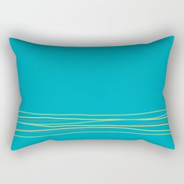 Aqua Green Red Yellow Scribble Line Design Bottom 2021 Color of the Year AI Aqua and Accent Shades Rectangular Pillow