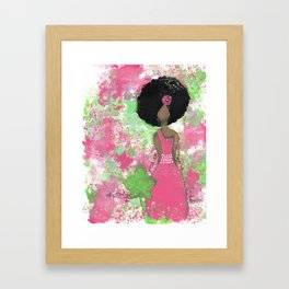 Dripping Pink and Green Angel Framed Art Print