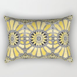 Sunny Yellow Radiant Watercolor Pattern Rectangular Pillow