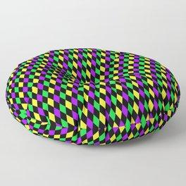 Mardi Gras Diamonds on Black Floor Pillow