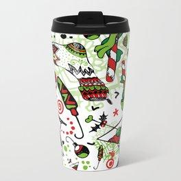 Christmas Candy Cane and Holiday Socks Metal Travel Mug