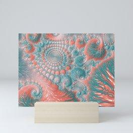 Abstract Living Coral Reef Nautilus Pastel Teal Blue Orange Spiral Swirl Pattern Fractal Fine Art Mini Art Print