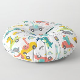 Dinosaur Race Cars Fun Pattern Floor Pillow