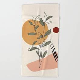 Minimal Line Young Leaves Beach Towel