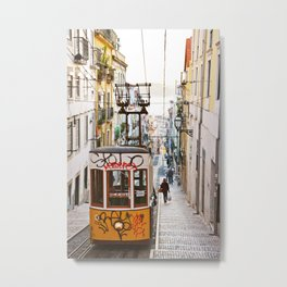 Lisbon summer day and vintage tram urban city street photography Metal Print