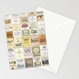 Famous French wine labels collage: vintages from Bordeaux/Rhone Stationery Cards