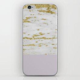 Gold faraldi and smokey lilac marble iPhone Skin