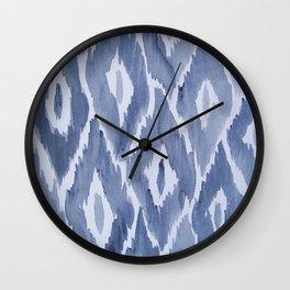 Painterly Ikat Indigo Wall Clock