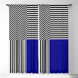 Geometric abstraction, black and white stripes, blue square Blackout Curtain