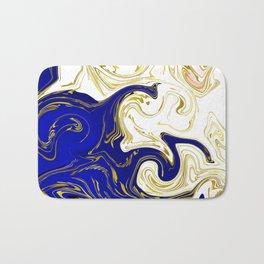 blue ,gold,rose,black,golden fractal, vibrations, circles modern pattern, Bath Mat